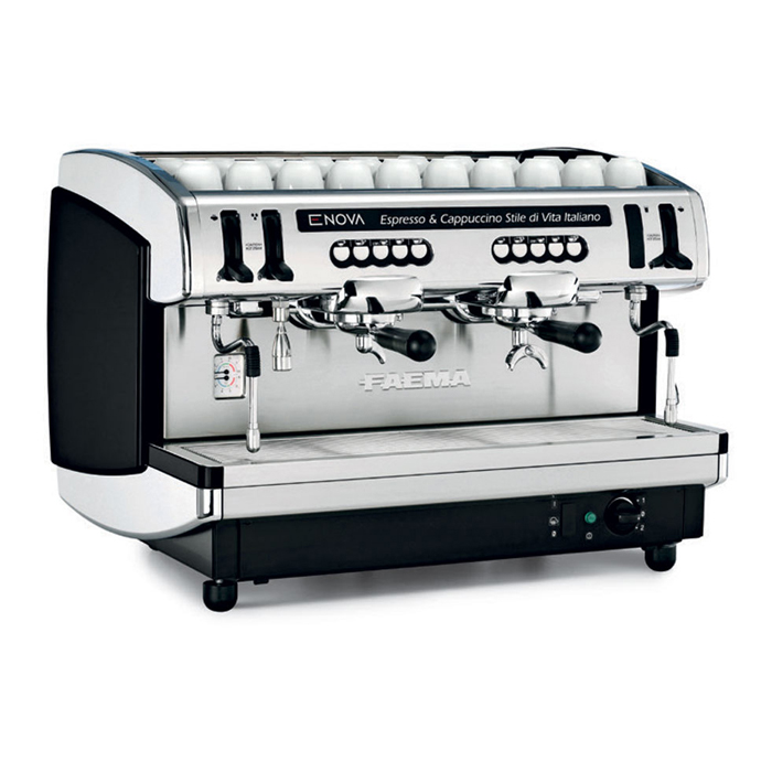 Faema Enova barista style coffee machine 2 group black and silver model right side view