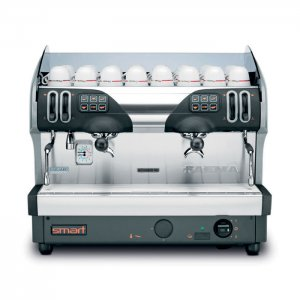 Faema Smart 2 group espresso machine front view black and silver model