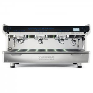 Faema Teorema 3 group espresso machine front view chrome model