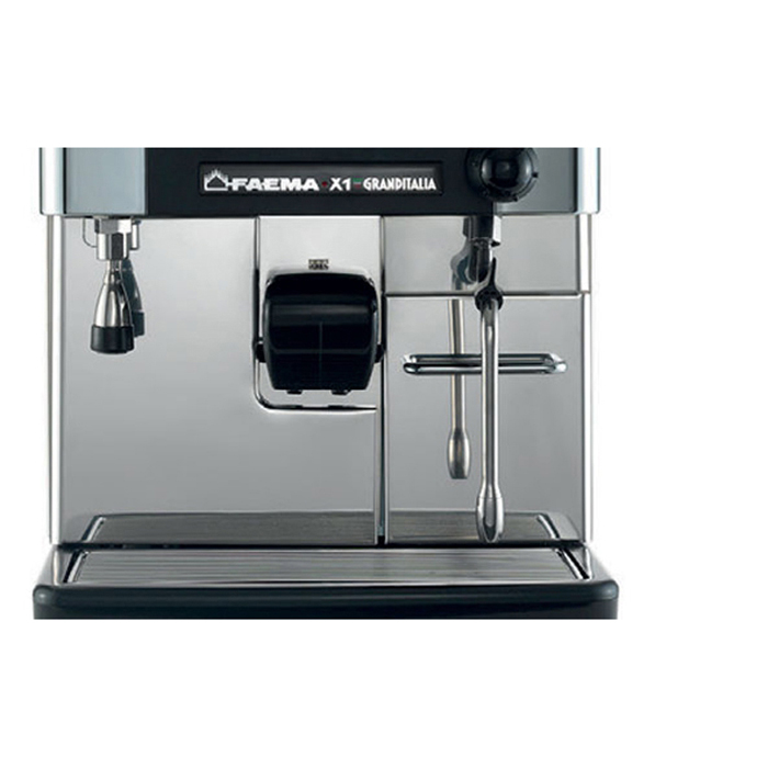 Faema X1 Granditalia bean to cup coffee machine front view chrome model
