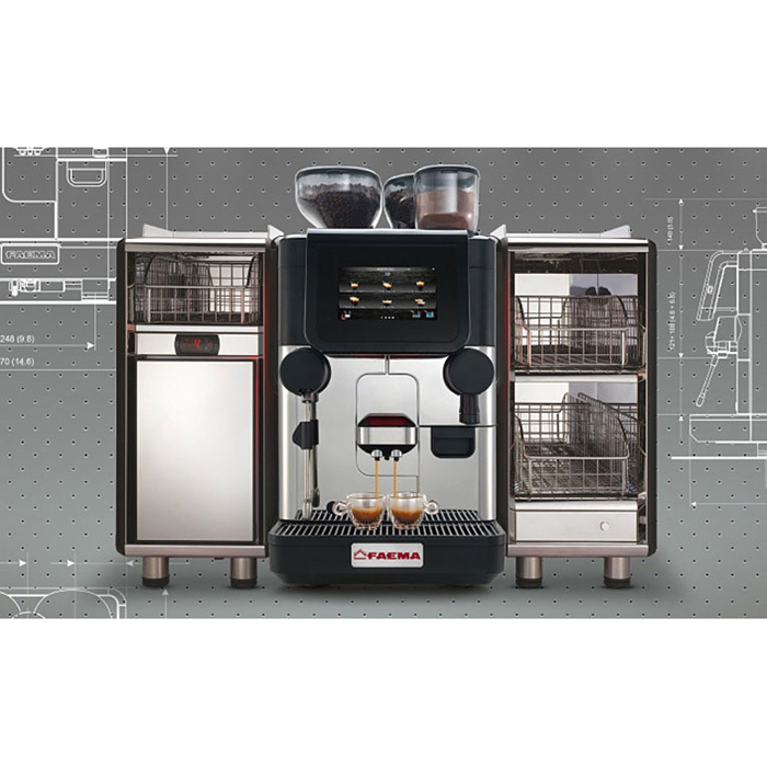 Faema X20 bean to cup coffee machine with Milk Chiller and Cup Warmer Front View