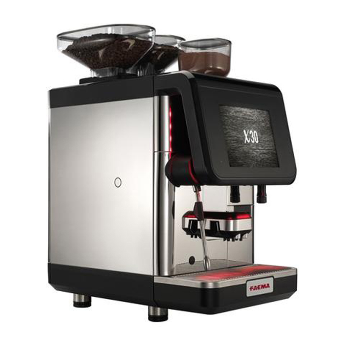 Faema X30 bean to cup coffee machine side view black and silver model