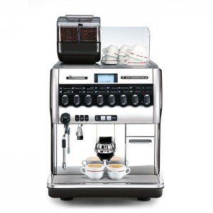 Faema X54 Granditalia bean to cup coffee machine front view chrome model