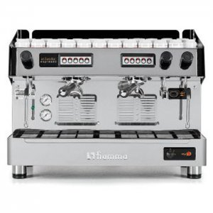 Fiamma Atlantic barista style coffee machine 2 group silver model with cup storage