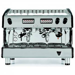 Fiamma Prestige 2 group espresso machine front view silver model with black detail