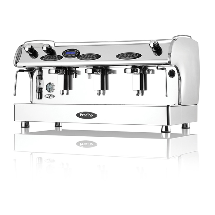 Fracino Romano 3 group espresso machine side view chrome model