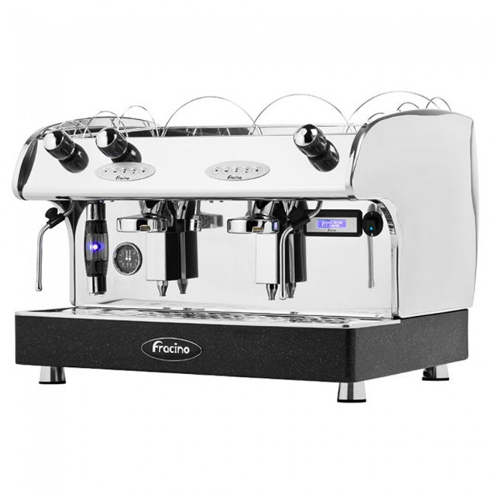 Fracino Romano 2 group espresso machine left side view chrome model
