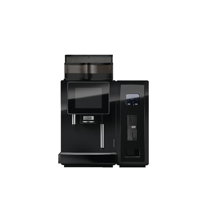 Franke A400 bean to cup coffee machine with payment mechanism black model front view