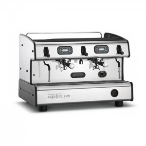 Franke T200 barista style coffee machine 2 group black and silver model side view