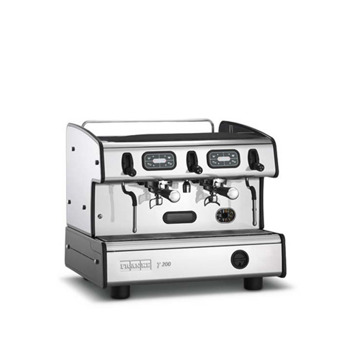 Franke T200 compact barista style coffee machine 2 group silver and black model side view