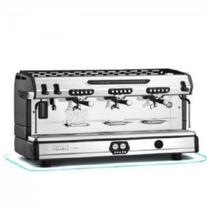 Franke T400 barista style coffee machine 2 group silver and black model side view