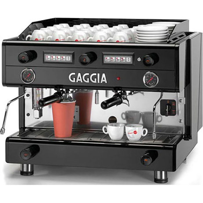 Gaggia D90 Alti 2 group espresso machine side view black and silver model