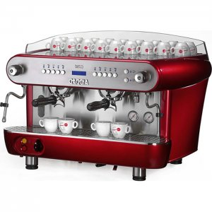 Gaggia Deco 2 group espresso machine side view red model