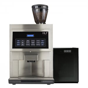 HLF 4600 bean to cup coffee machine with Milk Chiller Front View silver model