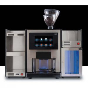 HLF 4700 bean to cup coffee machine Front View with milk chiller and cup warmer