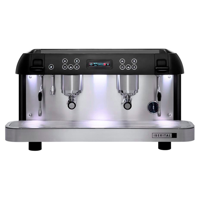 Iberital Expression Pro 2 Group Espresso Machine Front View Silver and Black Model