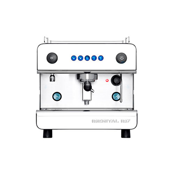 Iberital IB7 1 group espresso machine front view silver model