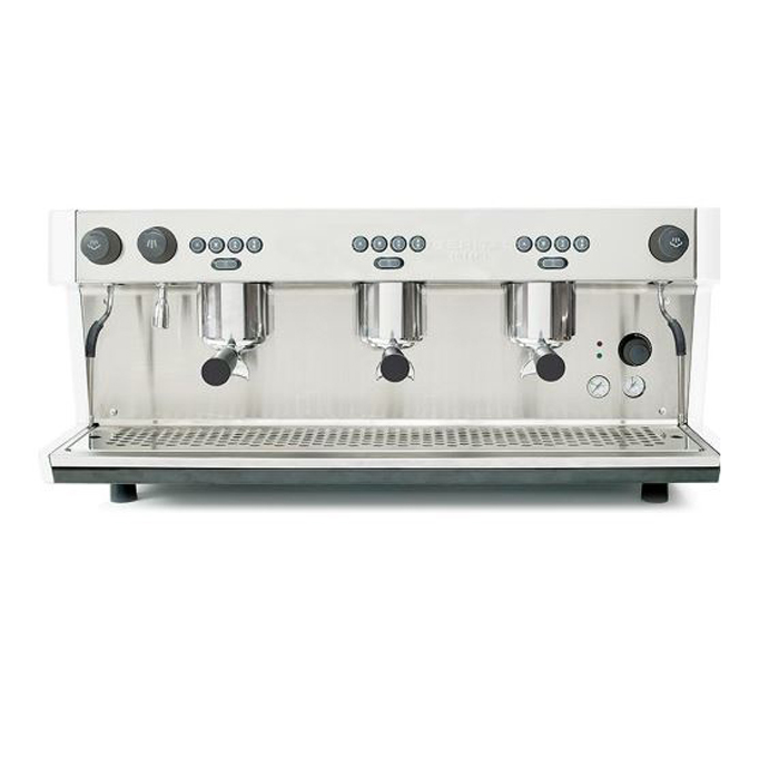 Ibertial Intenz Barista Style Coffee Machine 3 group silver model front view