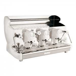 Izzo MyWay Sorrento Automatica 3 group espresso machine side view white and chrome model