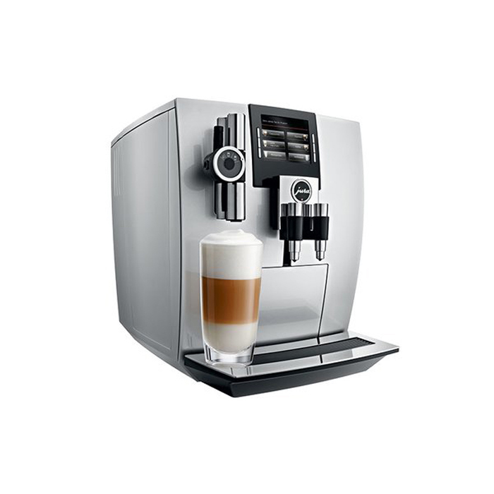 Jura J90 domestic bean to cup coffee machine side view brilliant silver model