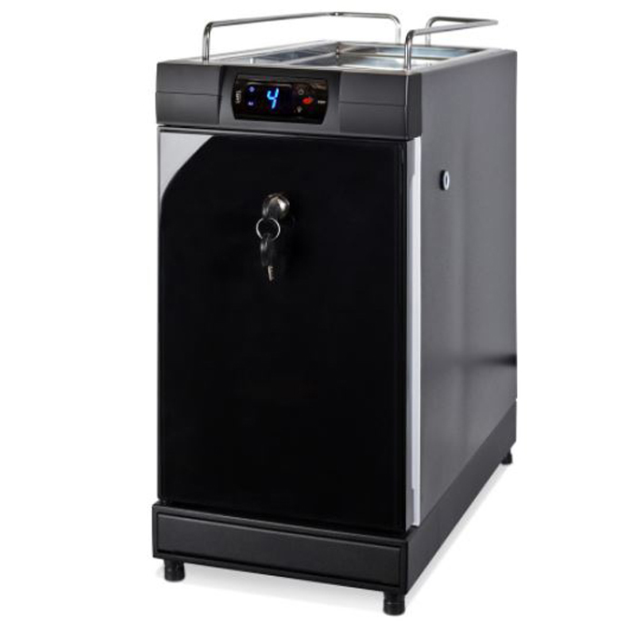 Jura 4L universal fridge with lockable feature with integrated cup warmer black side view