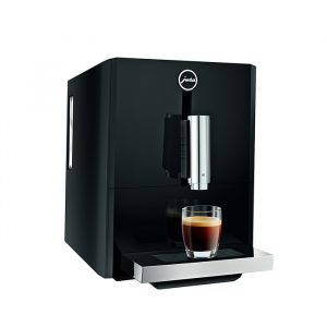 Jura A1 domestic bean to cup coffee machine Piano black side view