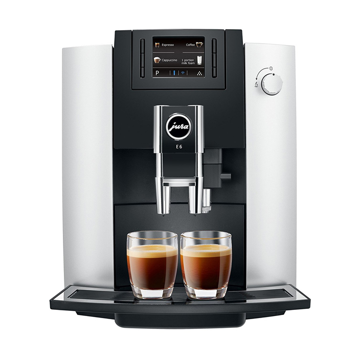 Jura E6 platinum domestic bean to cup coffee machine platinum front view