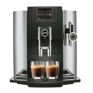 Jura E8 domestic bean to cup coffee machine chrome front view