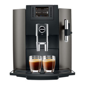 Jura E8 domestic bean to cup coffee machine Dark-Inox front view