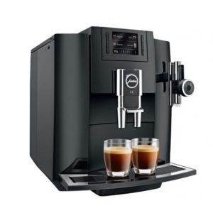 Jura E8 domestic bean to cup coffee machine piano black side view