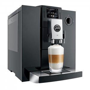 Jura f9 domestic bean to cup coffee machine piano black model right side view