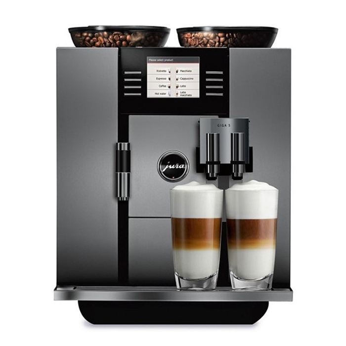 jura giga 5 domestic bean to cup coffee machine aluminium front view