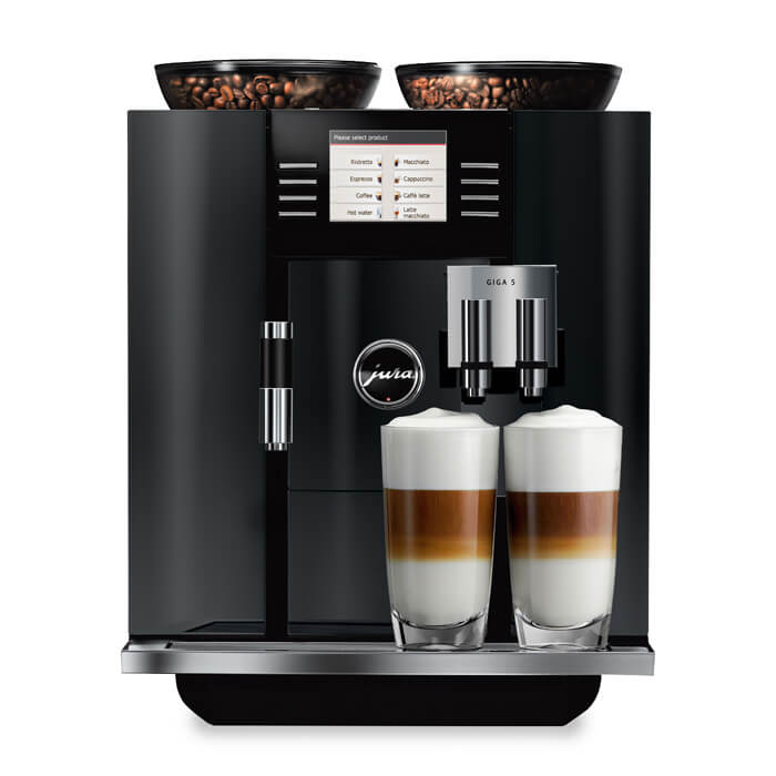 jura giga 5 bean to cup coffee machine piano black front view