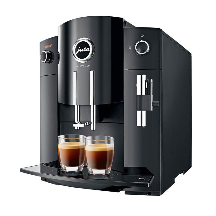 Jura impressa c60 domestic bean to cup coffee machine black side view