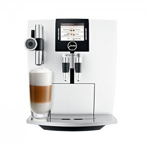 Jura Impressa J85 domestic bean to cup coffee machine piano white front view