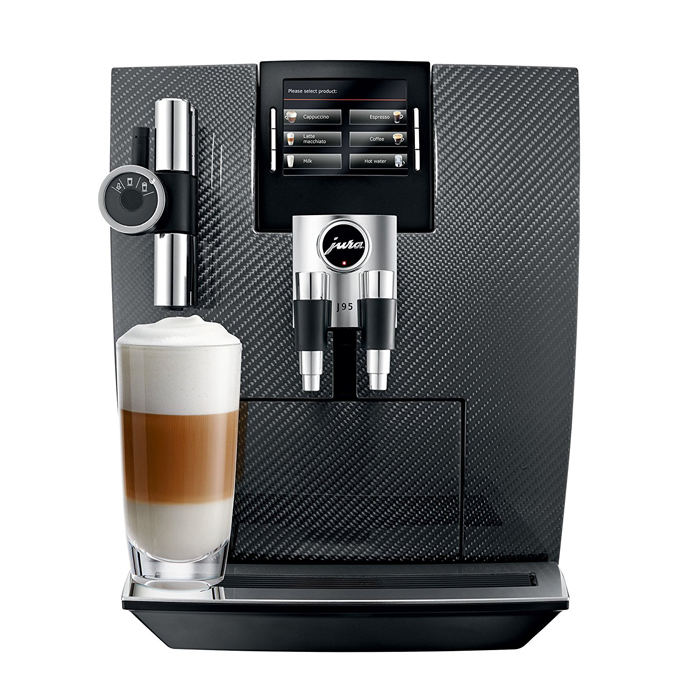 Jura Impressa J95 domestic bean to cup coffee machine carbon black front view