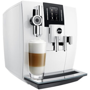 Jura J6 domestic bean to cup coffee machine piano white side view