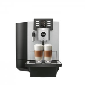 Jura JX8 bean to cup coffee machine black and silver model front view