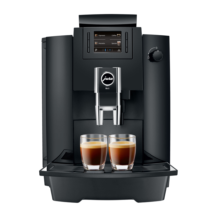 Jura WE6 bean to cup coffee machine black front view