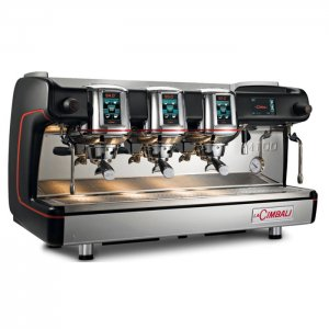 la cimbali m100 touchscreen barista style coffee machine 3 group black and silver model with red detail right side view