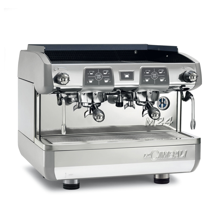 La cimbali m24 te barista style coffee machine 2 group silver model right side view