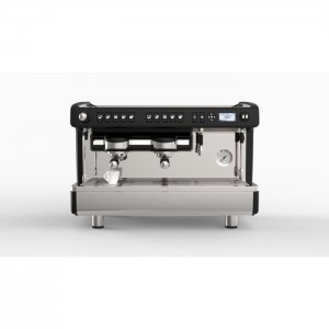 La cimbali m26 barista style coffee machine 2 group silver and black model front view