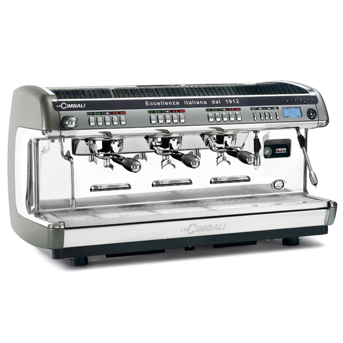 La Cimbali M39 3 group espresso machine side view grey and silver model