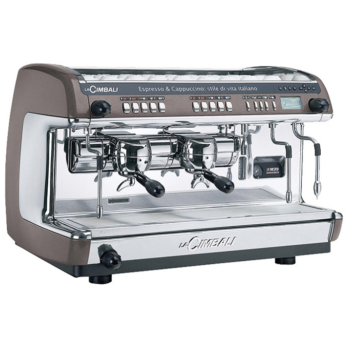 La Cimbali M39 2 group espresso machine side view brown and silver model