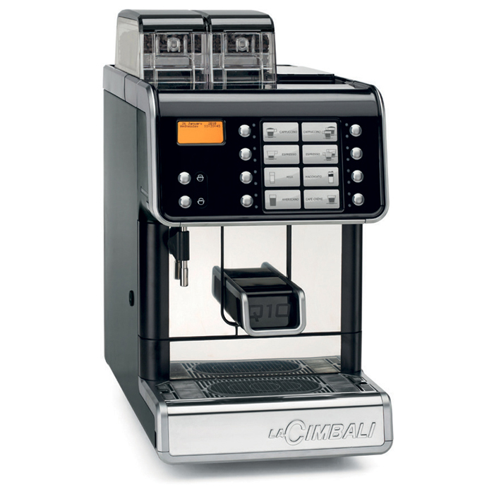 La Cimbali Q10 bean to cup coffee machine side view black and chrome model