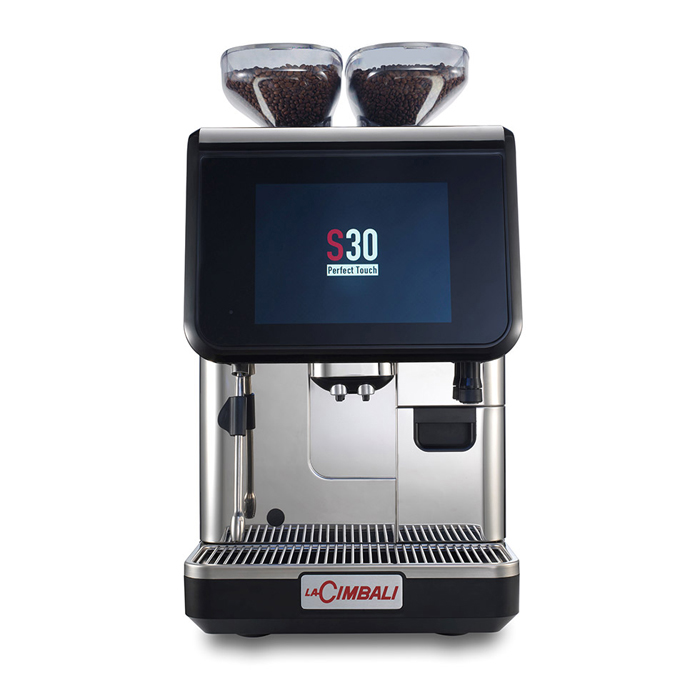 La Cimbali S30 bean to cup coffee machine front view black and silver model