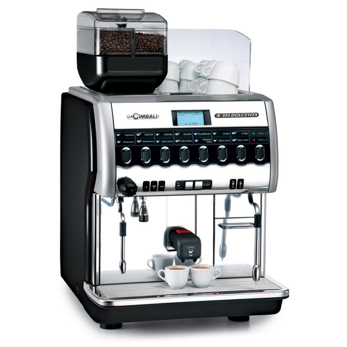 La Cimbali S54 Dolcevita bean to cup coffee machine side view black and chrome model