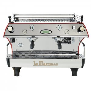 La Marzocco FB80 2 group espresso machine front view chrome model with red and black detailing