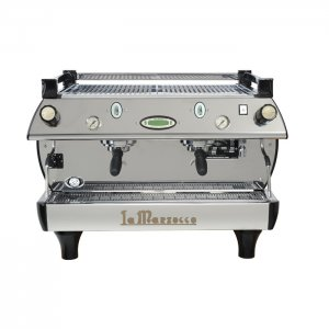 La-Marzocco GB5 2 group espresso machine front view chrome model