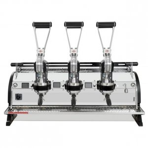 La Marzocco Leva 3 group espresso machine front view chrome and black model